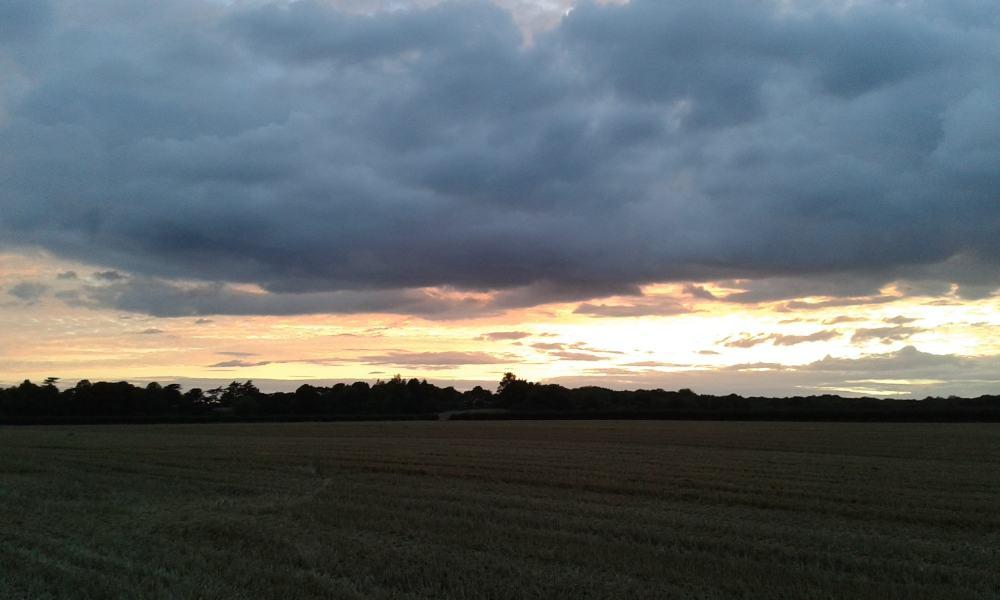 sunset over the fields at Furze Platt