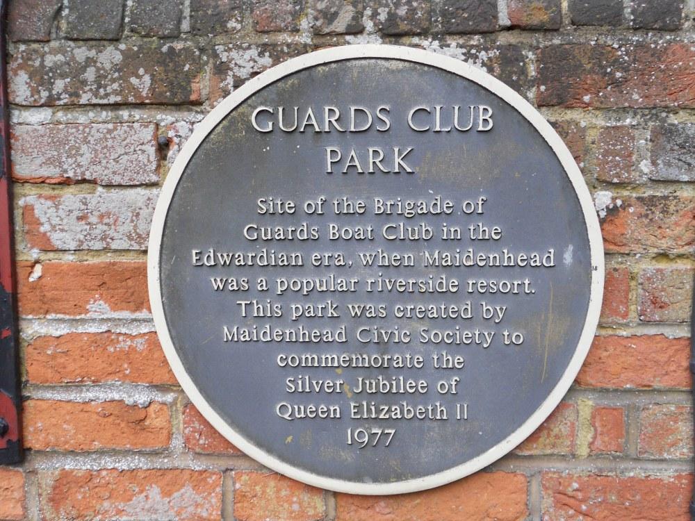 Guards Club Park plaque