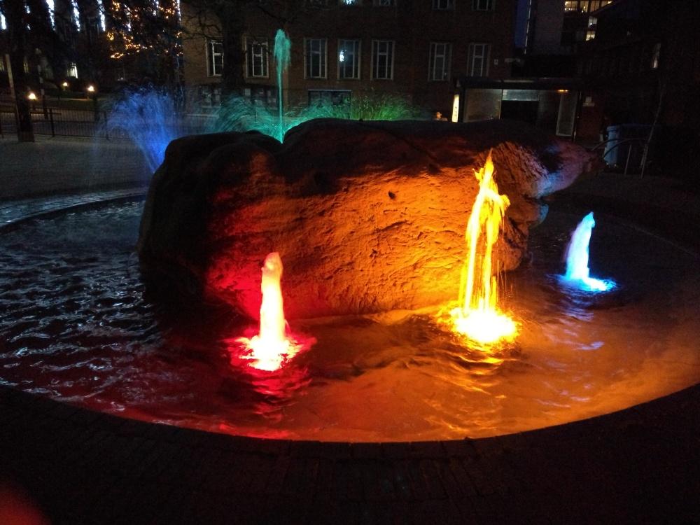 Maudsley Memorial Garden Fountain at night