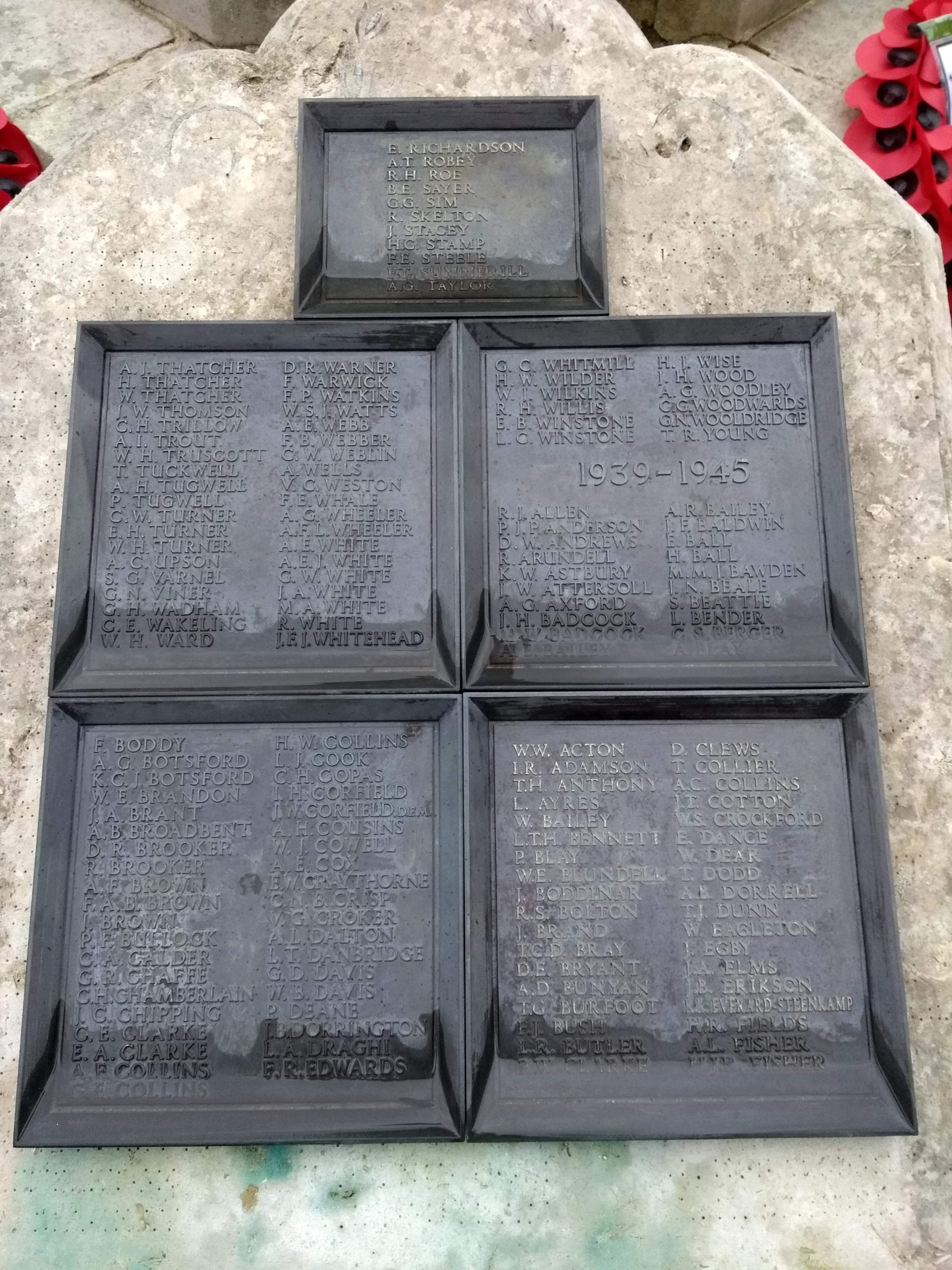 World War 1 and 2 Memorial - names of the fallen