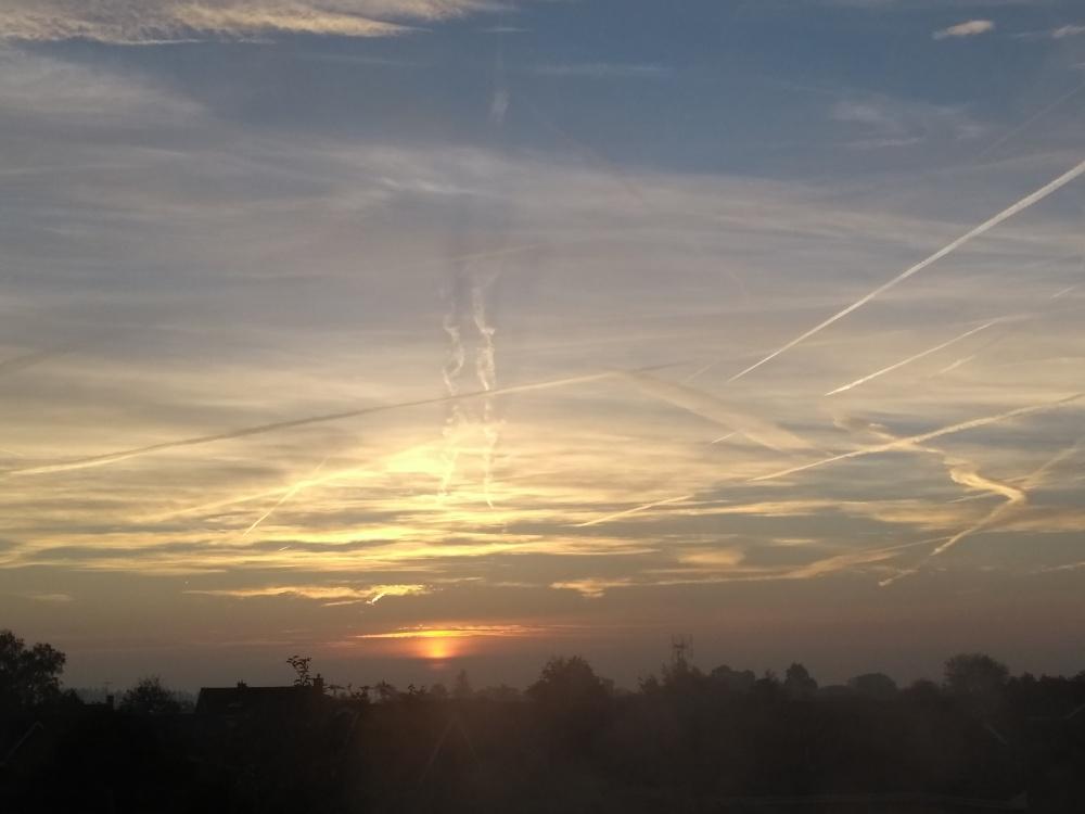 Sunrise over town centre