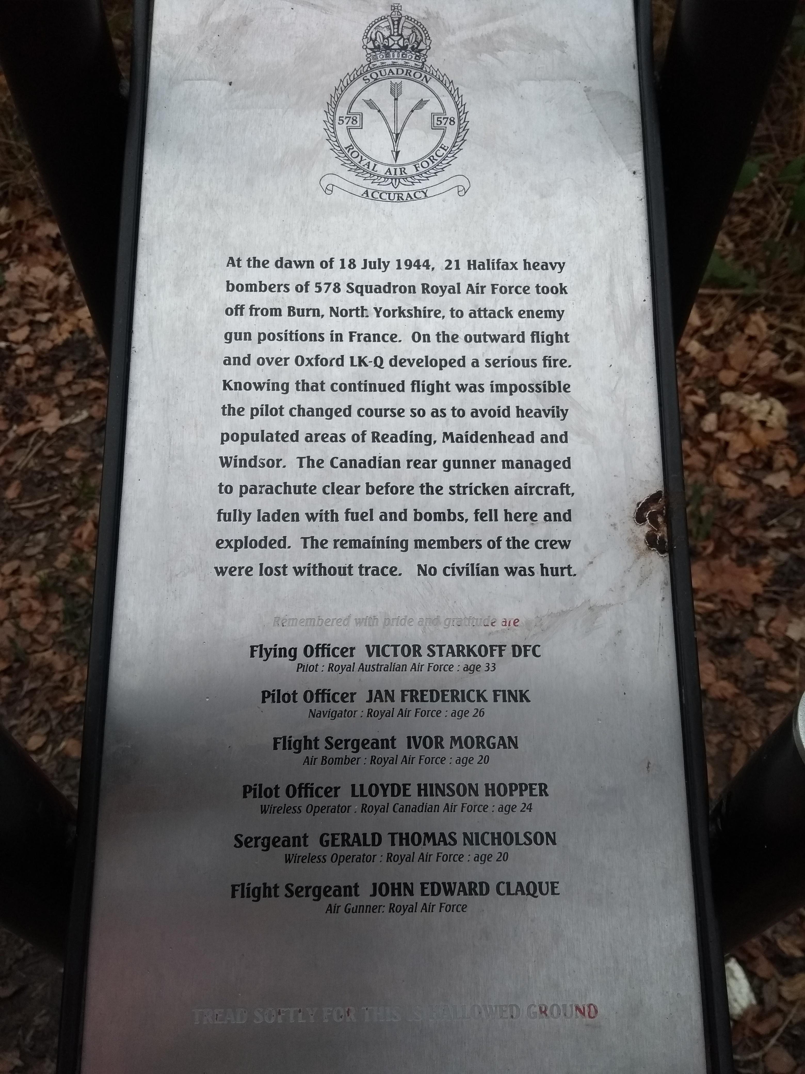RAF Memorial Plaque wording