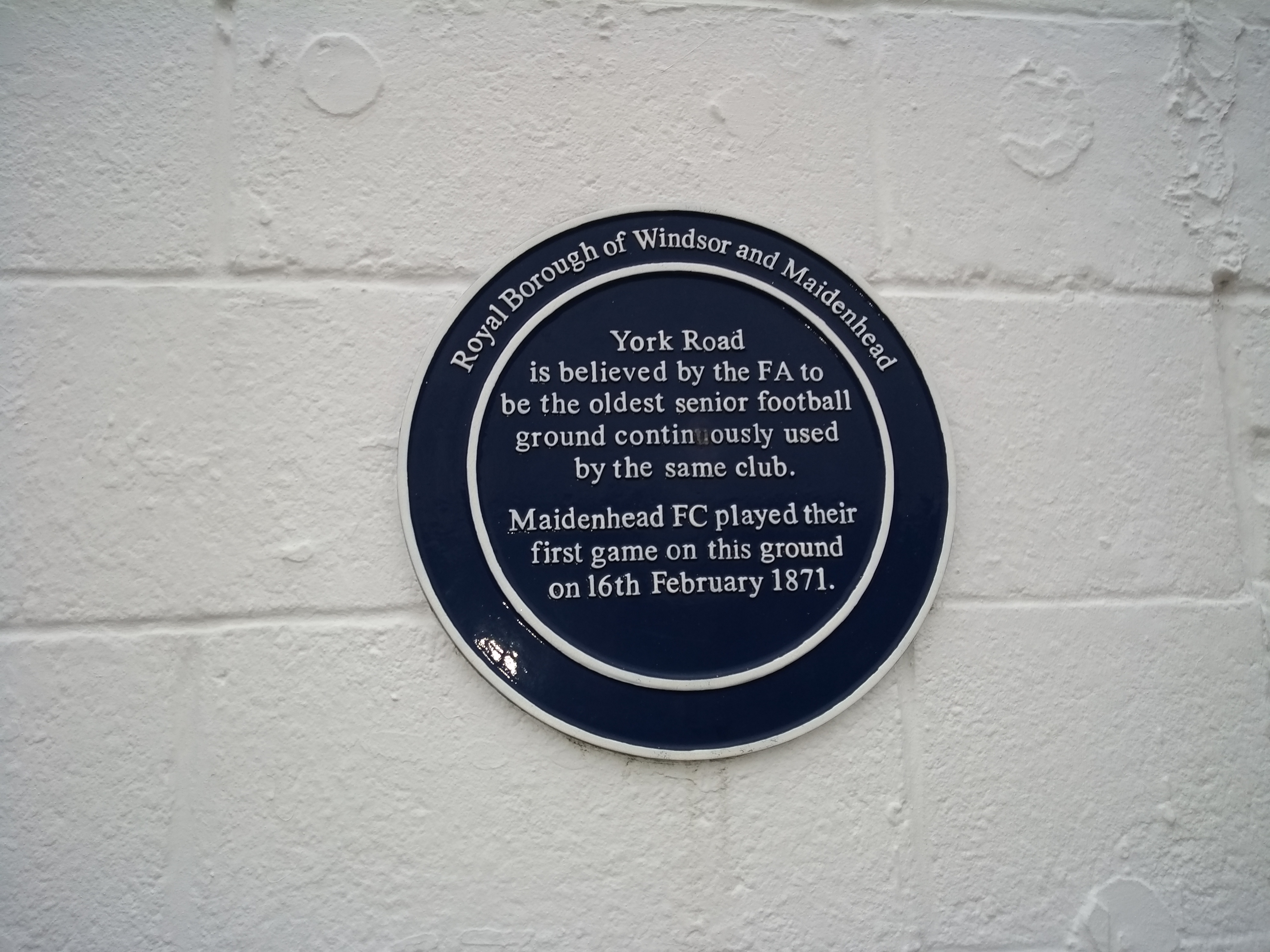 Plaque to mark York Road being the oldest senior football ground